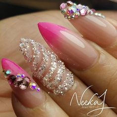 Mixed Media Pink And Natural Ombre Almond Shaped Nails Unicorn
