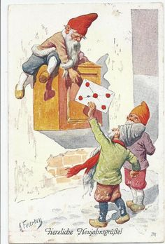 Karl Feiertag - Dwarfs putting Love Letter into Postbox