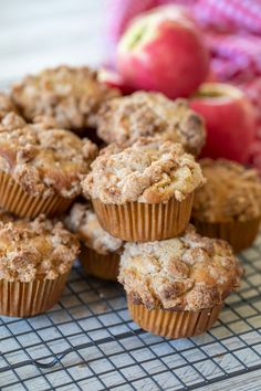 Streusel Topping For Muffins, Cinnamon Streusel Muffins, Apple Crumble Muffins, Sour Cream Muffins, Cinnamon Crumble, Apple Streusel, Cinnamon Apples, Cinnamon Cupcakes, Vanilla Glaze Recipes