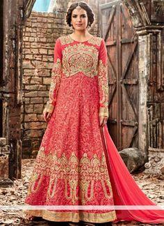 Angelic Rose Vif Soie Designer Floor Longueur Salwar Ensemble