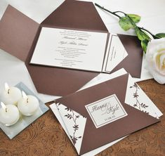 Brown & Ivory Vintage DIY Invitation Kits
