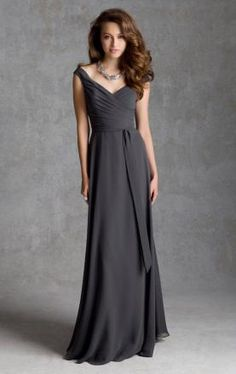 Latest Vintage Long Grey Bridesmaid Dress BNNAJ0047