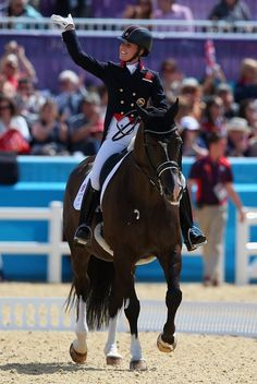 Charlotte Dujardin of Great Britain riding Valegro competes in the Dressage Grand Prix to take gold.