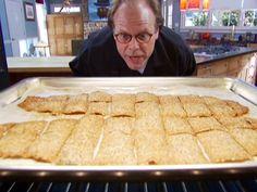 Seedy Crisps recipe from Alton Brown via Food Network Snack Recipes, Cooking Recipes, Healthy Recipes, Pastry Recipes, Pie Recipes, Healthy Eats, Healthy Snacks, Graham Cracker Recipes, Wheat Bread Recipe