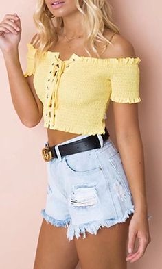 Casual Flirt Short Sleeve Smocked Off The Shoulder Ruffle Lace Up Crop Top Blouse, Summer Outfits, Good To Me Short Sleeve Smocked Off The Shoulder Lace Up Ruffle Crop Top - 3 Colors Available. Summer Outfit For Teen Girls, Trendy Summer Outfits, Preppy Outfits, Cute Casual Outfits, Spring Outfits, Yellow Outfits, Teenage Outfits, Casual Dresses, Blusas Crop Top