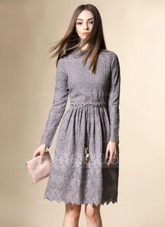Above Knee Round Neck Polyester Cotton 65%Cotton 35%Polyester Stitching Long Sleeves Fashion Dresses
