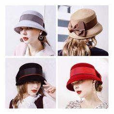 cd7390e9d669c British bucket hat with bow for women khaki wool hats winter wear