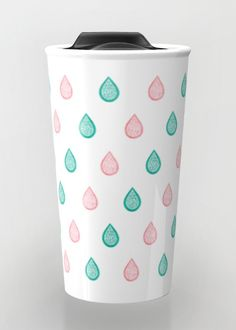 """""""Turquoise and coral raindrops"""" Travel Mug by Savousepate on Society6 #travelmug #pattern #raindrops #drops #abstract #turquoise #aqua #blue #coral #peach #pink #white #pastelcolors #softcolors"""