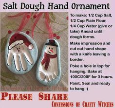 Salt Dough Ornaments Please √ Comment √ Share √ Like Thank you  If you're looking for a fun project to do with the kids for the holidays THIS IS IT.   Making holiday gifts is a wonderful tradition, and these salt dough ornaments will actually be used year after year. The best part is that your children will have an absolute blast making them. They are brilliant to make with even young toddlers and are a fantastic gift idea for family and friends to add to their own trees