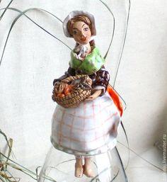 """Колокольчик """"Абрикос с базиликом"""" - рыжий,колокольчик,керамический колокольчик"""