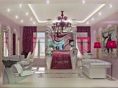 interior, design, beauty salon, burgundy, color