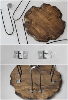 Check out this Small Rustic Stool with DIY Hairpin Style Legs | UpcycledTreasures.com #DIY #hairpin #rustic