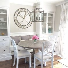 Love these built ins! Breakfast Nook with IKEA Built ins. Kitchen Nook, Kitchen Decor, Wooden Kitchen, Kitchen Storage, Kitchen Interior, Kitchen Island, Ikea Built In, Minimalist Dining Room, Dining Nook