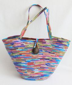 Colours Large Coiled Fabric Wrapped Clothesline Tote by PrairieThreads. One way to recycle an unwanted men's shirt!