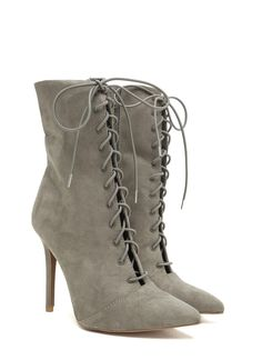 Make A Point Lace-Up Stiletto Booties KHAKI  TOFFEE - GoJane.com