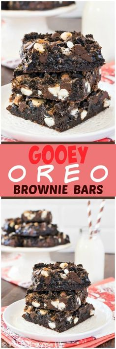 Gooey Oreo Brownie Bars - these easy brownies are loaded with Oreo cookie chunks and chocolate chips. This fudgy dessert recipe is perfect for when you need a chocolate fix! (oreo cookie recipes with pudding) Brownie Desserts, Mini Desserts, Brownie Recipes, Chocolate Desserts, Easy Desserts, Cookie Recipes, Delicious Desserts, Dessert Recipes, Yummy Food