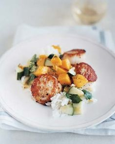 Scallops With Sweet Cucumber and Mango Salsa|This salsa—a medley of cilantro, lime juice, and ginger— complements fish, shrimp, steak, and lamb. Intimidated by peeling a mango
