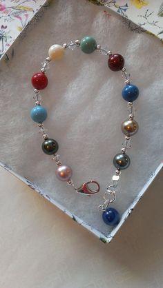 MultiColored Swarovski Pearl Bracelet by MyCrystalAddiction, $30.00