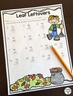 Practice solving two digit subtraction that involves regrouping with Leaf Leftovers. Part of a Fall Literacy and Math No Prep Bundle for Second Grade.