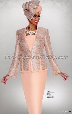 Church Suits by Terramina - Spring 2018 Church Dresses For Women, Women Church Suits, Church Outfits, Suits For Women, Clothes For Women, Elegant Church Suits, Church Suits And Hats, Elegant Dresses, Church Hats