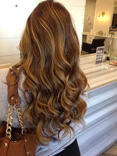 Gorgeous, light brunette with caramel highlights.