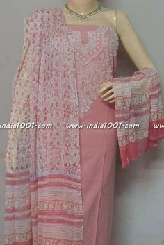 Beautiful Cotton Unstitched Suit Fabric with Lucknowi work Indian Suits, Indian Wear, Ethnic Fashion, Indian Fashion, Lucknowi Suits, Churidar Designs, Kurti Designs Party Wear, Dress Indian Style, Suit Fabric