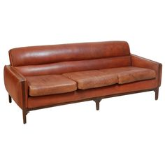 View this item and discover similar for sale at - leather sofa by Borge Morgensen. Vintage Furniture, Cool Furniture, Furniture Design, Sofa Seats, Sofa Chair, Sofas, Couches, Leather Sofa, Mid-century Modern