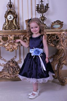 Marineblaue Blumenmädchen Kleid Marine Spitze Mädchen Kleid