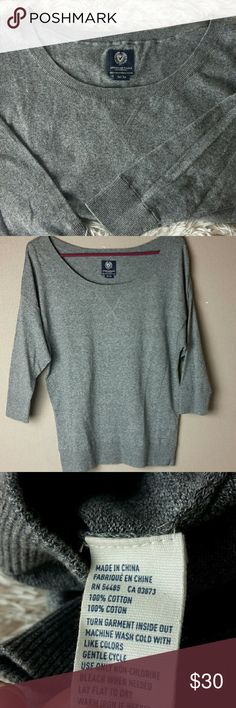 100% cotton Sweater by American eagle Thin lightweight top in heather gray American Eagle Outfitters Tops