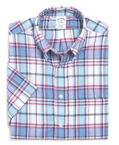 Slim Fit Short-Sleeve Madras Check Sport Shirt | Brooks Brothers