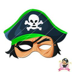 Childrens Printable Pirate Mask - Green | Simply Party Supplies Printable Masks, Printables, Half Mask, Printer Paper, Hole Punch, Print And Cut, Pirates, Yellow, Blue