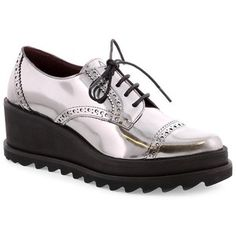 Lead Leather Platform Oxfords by Sixtyseven
