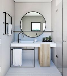 Home Interior Layout Mirror With Shelf Q.Home Interior Layout Mirror With Shelf Q Bathroom Interior Design, Interior, Modern Bathroom Design, Decor Interior Design, Round Mirror Bathroom, House Interior, Bathrooms Remodel, Bathroom Decor, Beautiful Bathrooms