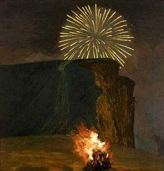 Fireworks and Bonfire, West Bay, 2000 (oil on canvas) by David Inshaw Nocturne, Landscape Art, Landscape Paintings, Landscapes, Bokashi, Tate Gallery, Bonfire Night, Sculpture, Art Boards