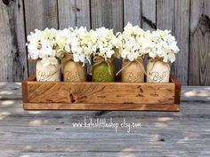 2014 DIY painted mason jars in wooden box with white flowers - home decor, Christmas gift