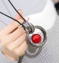 Nuovi cerchi simulato della sfera della perla pendente della collana lunga donna nero di modo della catena dei monili del regalo all'ingrosso(China (Mainland))
