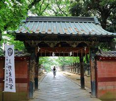 上野東照宮。新緑に囲まれた門。