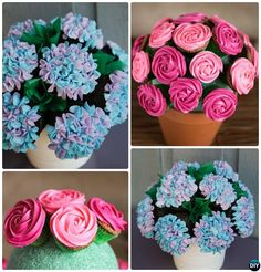 DIY Cupcake Flower Bouquet in Pot-20 Gorgeous Pull Apart Cupcake Cake Designs For Any Party Decorating #Cupcake, #Bakery