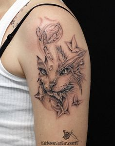 55 Examples of Cute Cat Tattoo | Art and Design