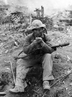 U.S. Marine with Flamethrower M2-2 on the island of Iwo Jima