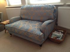 Bespoke feather filled traditional snuggler chair with traditional castor feet in cut velvet from Designers Guild. This may be commissioned in any size, fabric, filling, feet etc! Bespoke Sofas, Corner Unit, Cushion Filling, Designers Guild, Sofa Bed, Shades Of Blue, Damask, Cribs, Accent Chairs