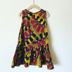 Girls Ankara African Print Wax Dropped Waist Dress by sewknotbias1
