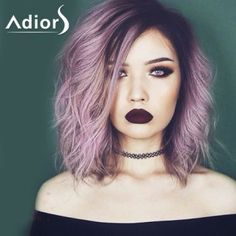Attractive Purple Ombre Medium Synthetic Shaggy Natural Wave Women's Capless Adiors Wig (COLORMIX) in Synthetic Wigs | DressLily.com