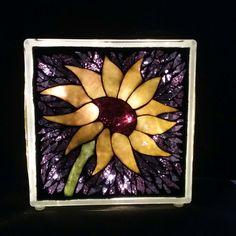 Custom Order Sunflower Lighted Glass Block mosaic purple background by GlassPizazz on Etsy