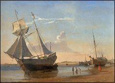 Carl Neumann (1833-1891): Parti fra Nordby havn, 1857 Nautical Art, Super Yachts, Navy Ships, Battleship, Cityscapes, Beach Themes, Golden Age, Sailing Ships, Boats