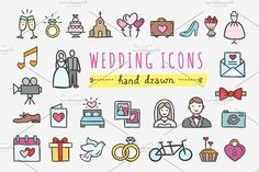 Wedding icons by redchocolate on @creativemarket