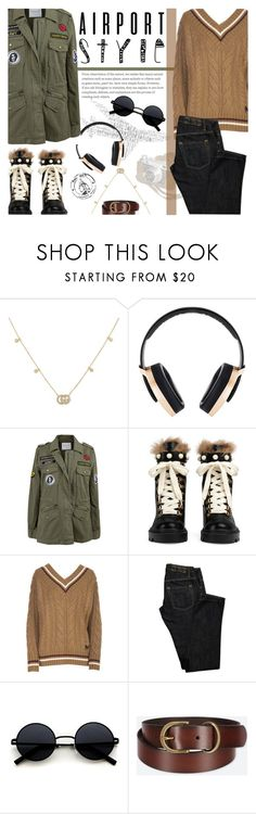 """Wanderlust Wonderful: Airport Style"" by nvoyce ❤ liked on Polyvore featuring Gucci, Pryma, Velvet by Graham & Spencer, N°21, Dsquared2, Uniqlo and airportstyle"