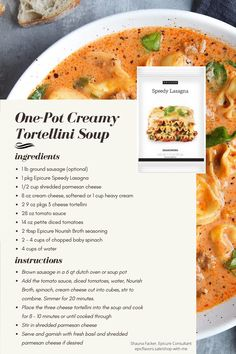 Creamy Tortellini Soup, Cheese Tortellini, Epicure Recipes, Pasta Recipes, Epicure Steamer, Clean Eating, Healthy Eating, Ground Sausage, Steamer Recipes