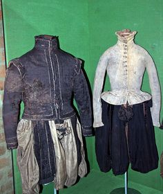 These clothes were worn by members of the Sture family when they were gruesomely murdered on the eve of the Holy Trinity on May 24th, 1567. King Erik XIV, in a fit of paranoid mental confusion, together with his henchmen, murdered some of the foremost nobility of the realm.  The jacket on the left, worn by Count Stenson Sture, is made of black silk velvet. The jacket on the right, worn by Nils Sture, is made of leather with distinct stab marks from the muder weapon.