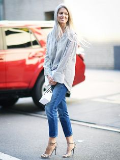 Metallic heels instantly elevate a button down and skinny jeans look